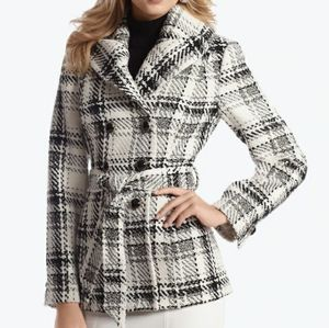 WHBM white black plaid belted peacoat jacket